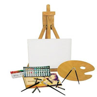Set pittura colori acrilici + cavalletto