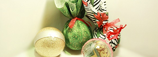 palline Natale stoffa glitter decoupage