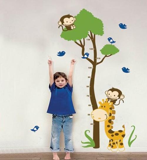 Adesivo Sticker murale Giraffa con grafico di crescita per bambini