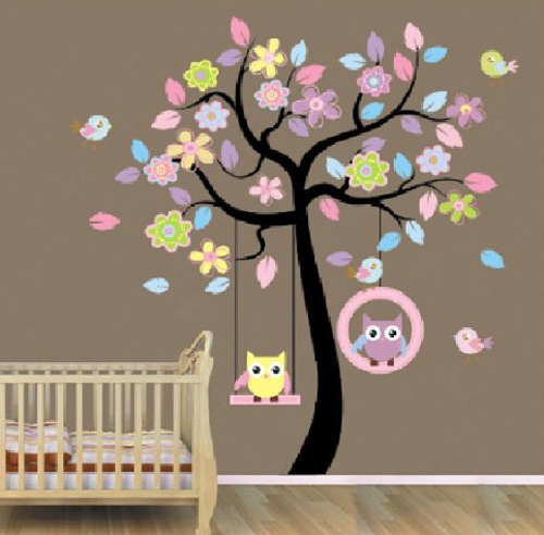 Adesivo albero con uccellini e gufetti