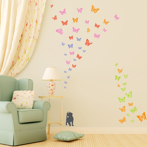 Adesivo farfalle e gattino