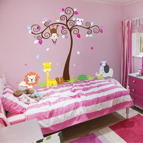 Adesivo murale albero con animali