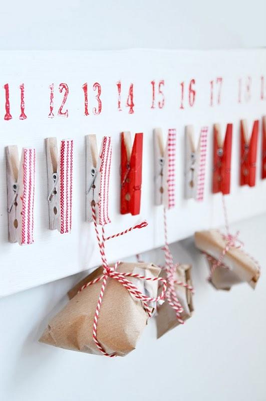 Calendario avvento con mollette