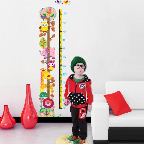 Metro da parete adesivo per bimbi con gufo e giraffa