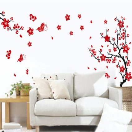 Sticker Murale Romantico con Fantasia Fiori di Mirabolano e Farfalle