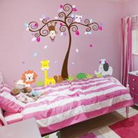 Sticker murale albero con animali