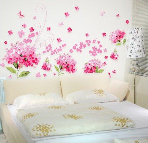 adesivo murale Fiori di Ortensia rosa