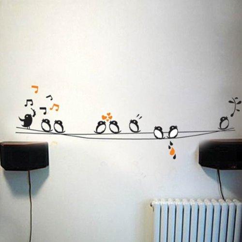 Uccelli canterini su filo