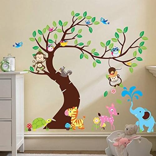 adesivo murale albero animali