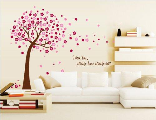adesivo murale albero fiori