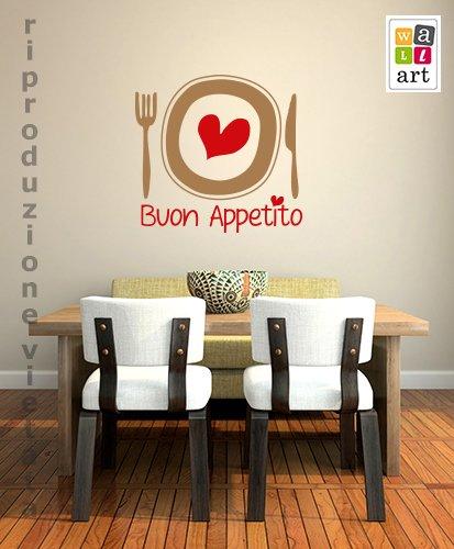adesivo murale buon appetito cuore