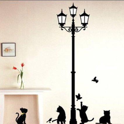 adesivo murale gattini giocherelloni lampione