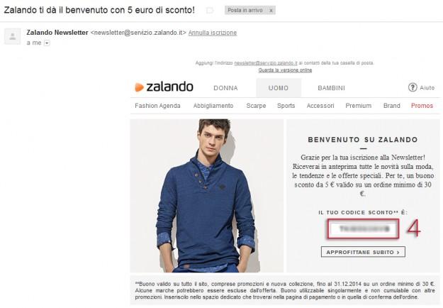 Email iscrizione alla newsletter di Zalando