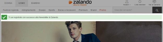 Registrato con successo newsletter di Zalando