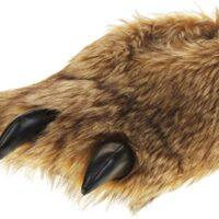 Pantofole da uomo in finta pelliccia con artigli