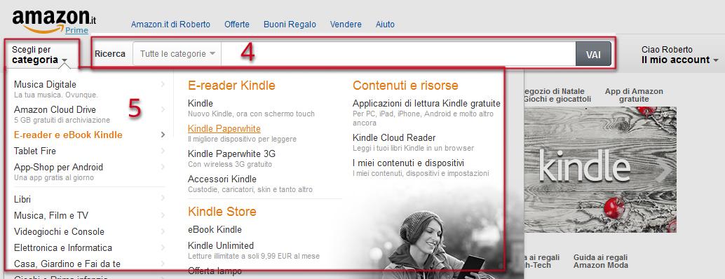 """29d6b1cd97 In questa guida ho deciso di acquistare un Kindle Paperwhite, l'ottimo  ebook reader di Amazon, partendo dal menù a sinistra e cliccando su """"Scegli  per ..."""