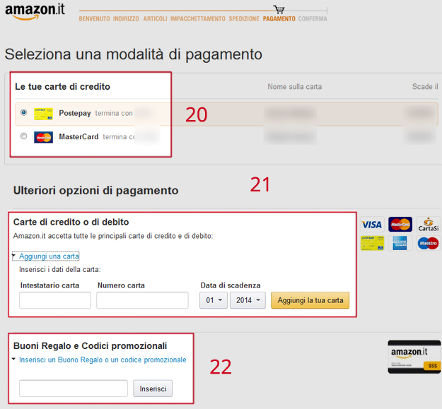Come acquistare su amazon guida passo passo for Codici regalo amazon