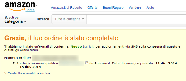 ordine completato amazon