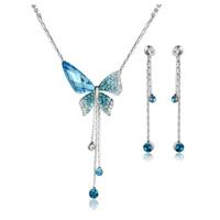 Parure di collana e orecchini farfalla