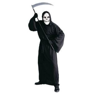 MORTE Serve un vestito lungo nero con cappuccio e la maschera tutta nera. Per concludere, una bella falce finta per uccidere chi ti da fastidio durante la festa