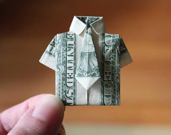 camicia origami dollari soldi contanti
