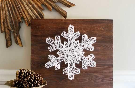 quadro chiodi filo lana natale fiocco neve