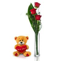 3 rose rosse + orsetto peluche