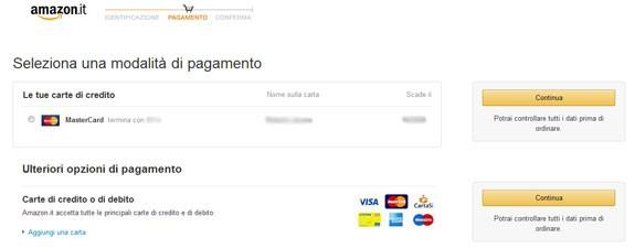 carta per pagamento