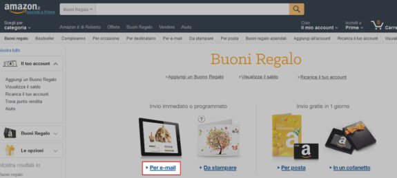 Come regalare un buono regalo amazon blog notizie for Regalare buono amazon