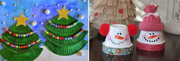 lavoretti Natale bambini vaso di terracotta e albero di carta