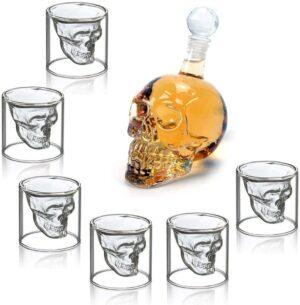 Bottiglia con 6 Bicchierini a forma di Teschio